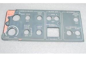 7608014-002, 11090, Learjet Cabin Climate EL Lightplate Panel