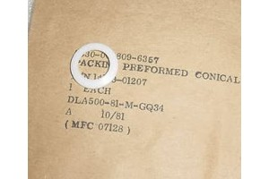 14153-01207, Aircraft Preformed Conical Teflon Packing