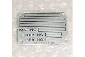 65-24916-2, 6524916-2, Boeing Aircraft Nameplate / Data Plate