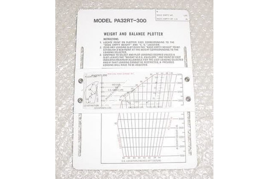 38386-002, 582-846, Piper PA32RT-300 Weight & Balance Plotter